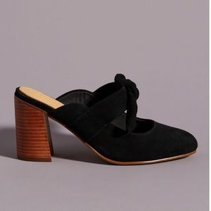 New Anthropologie Black Heeled Mules